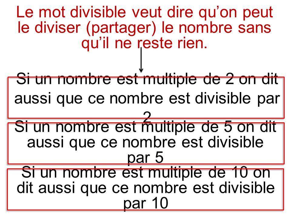 Le mot divisible veut dire qu'on peut le diviser (partager) le nombre sans qu'il ne reste rien.