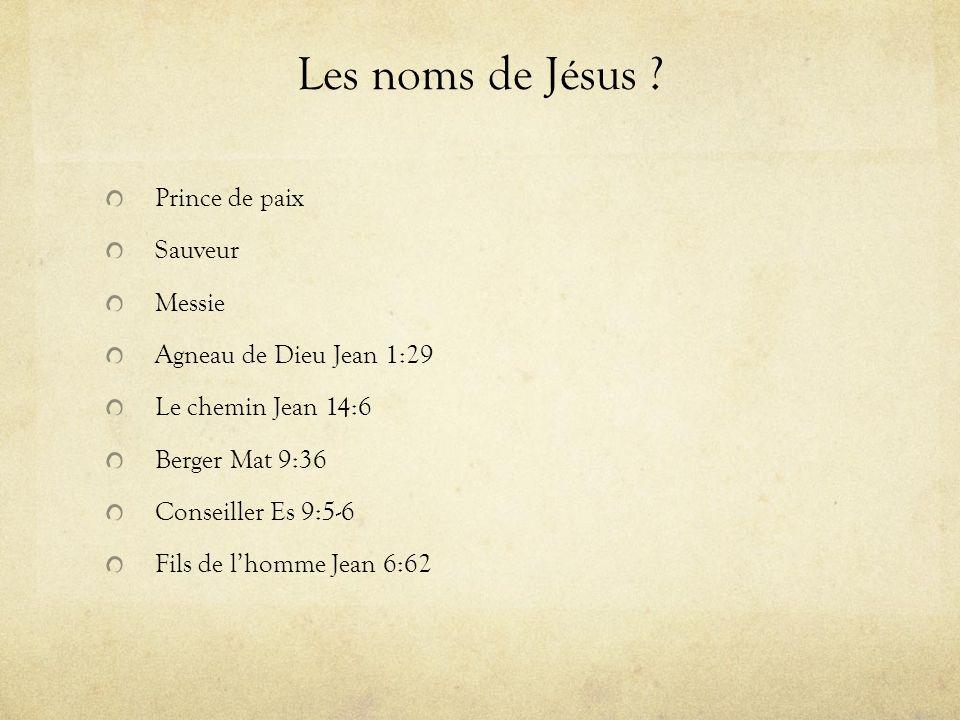 Les noms de Jésus Prince de paix Sauveur Messie