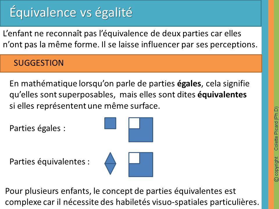 Équivalence vs égalité