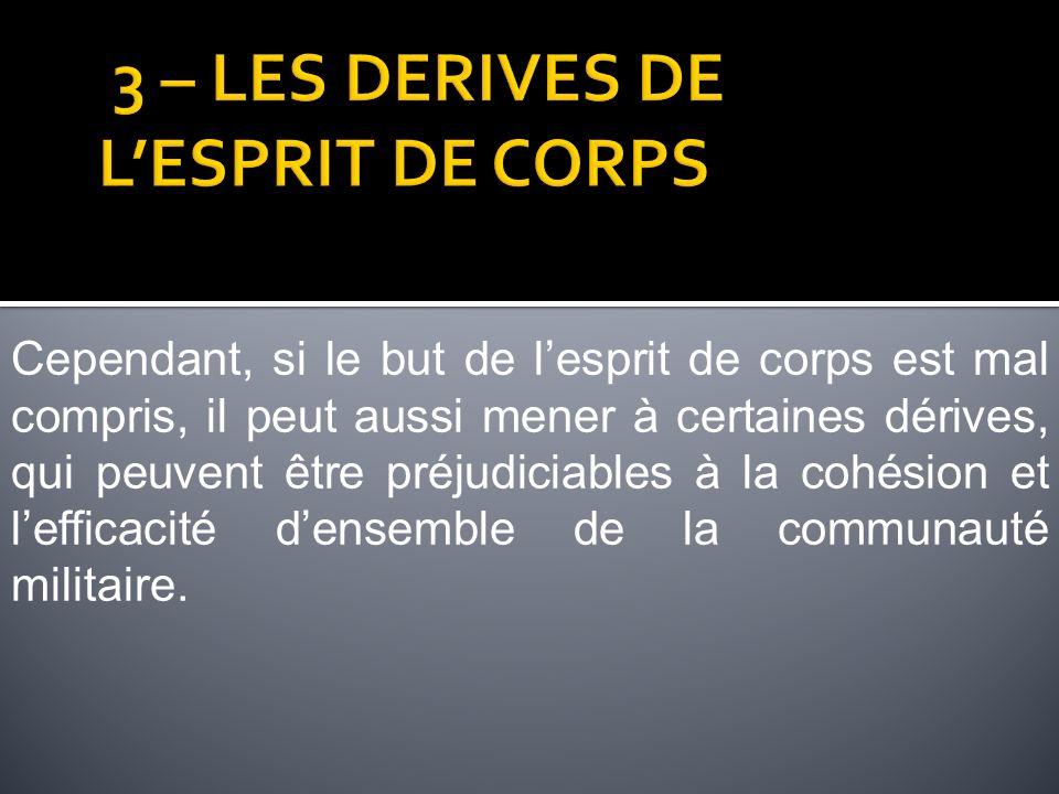 3 – LES DERIVES DE L'ESPRIT DE CORPS