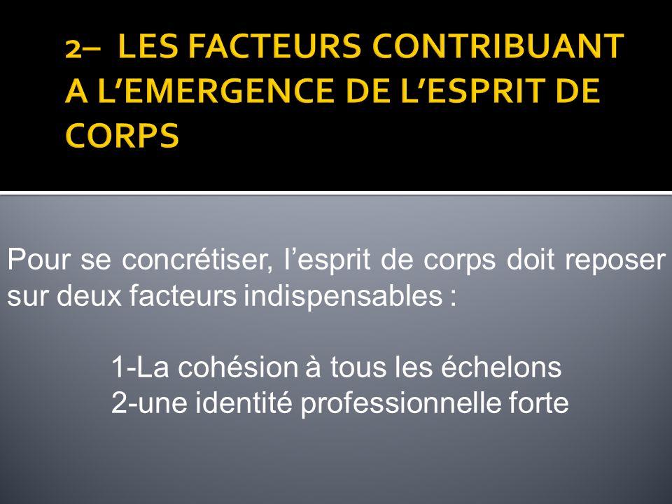 2– LES FACTEURS CONTRIBUANT A L'EMERGENCE DE L'ESPRIT DE CORPS
