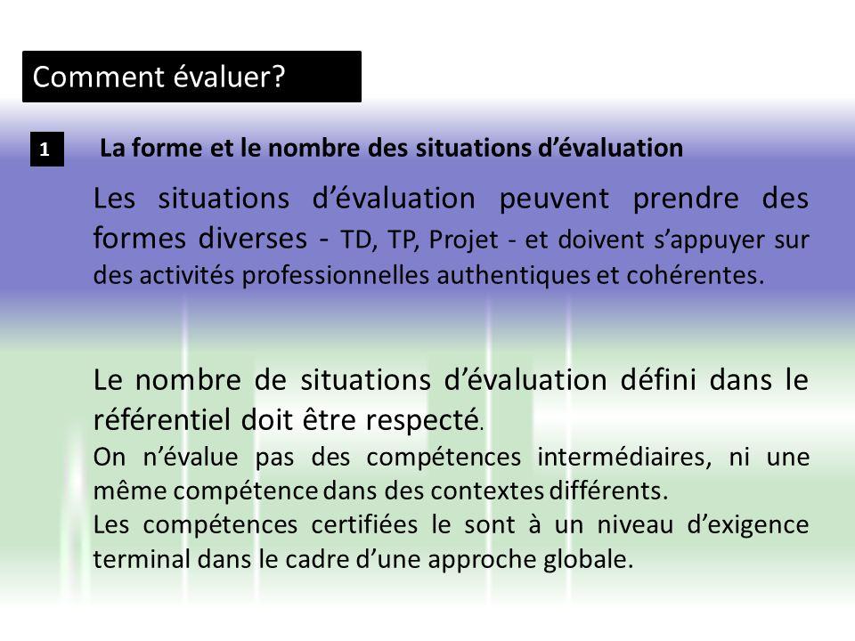 Comment évaluer La forme et le nombre des situations d'évaluation. 1.