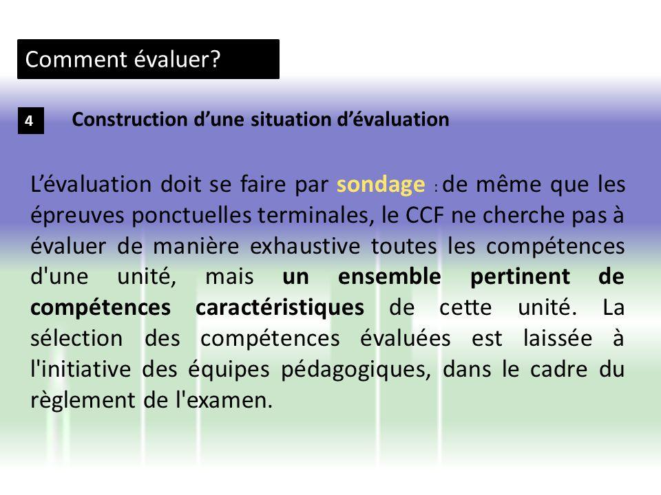 Comment évaluer Construction d'une situation d'évaluation. 4.