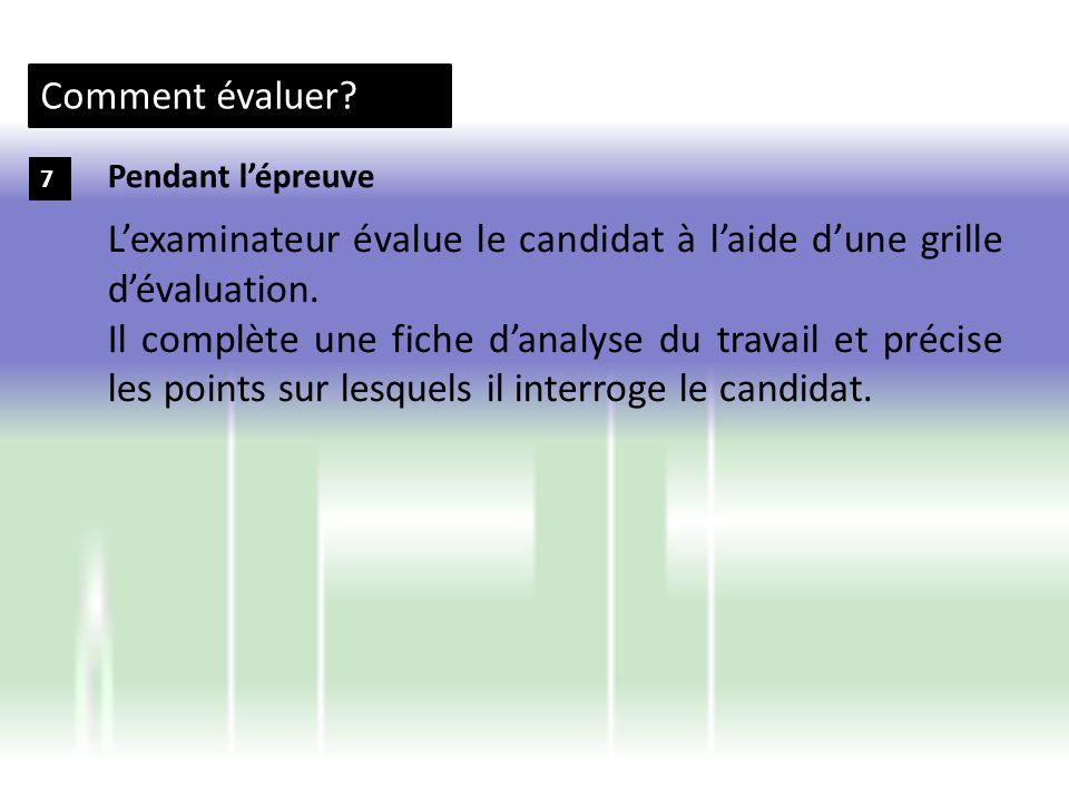 L'examinateur évalue le candidat à l'aide d'une grille d'évaluation.
