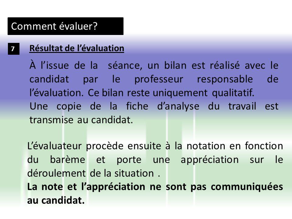 Une copie de la fiche d'analyse du travail est transmise au candidat.
