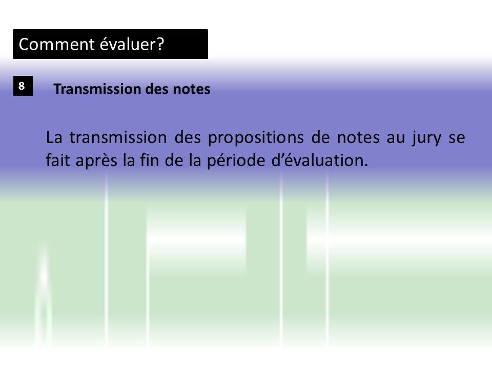 Comment évaluer. 8. Transmission des notes.