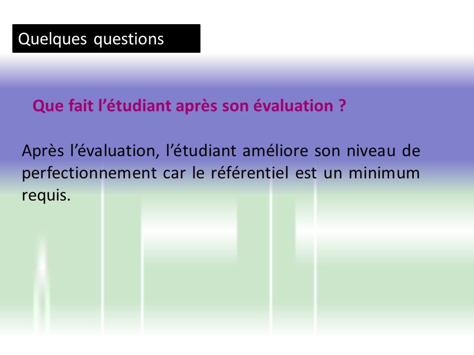 Quelques questions Que fait l'étudiant après son évaluation