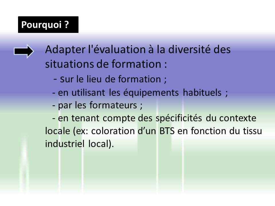 Adapter l évaluation à la diversité des situations de formation :