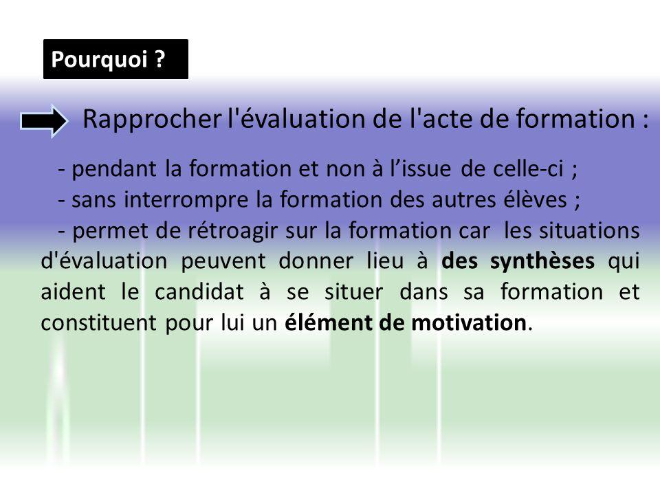 Rapprocher l évaluation de l acte de formation :