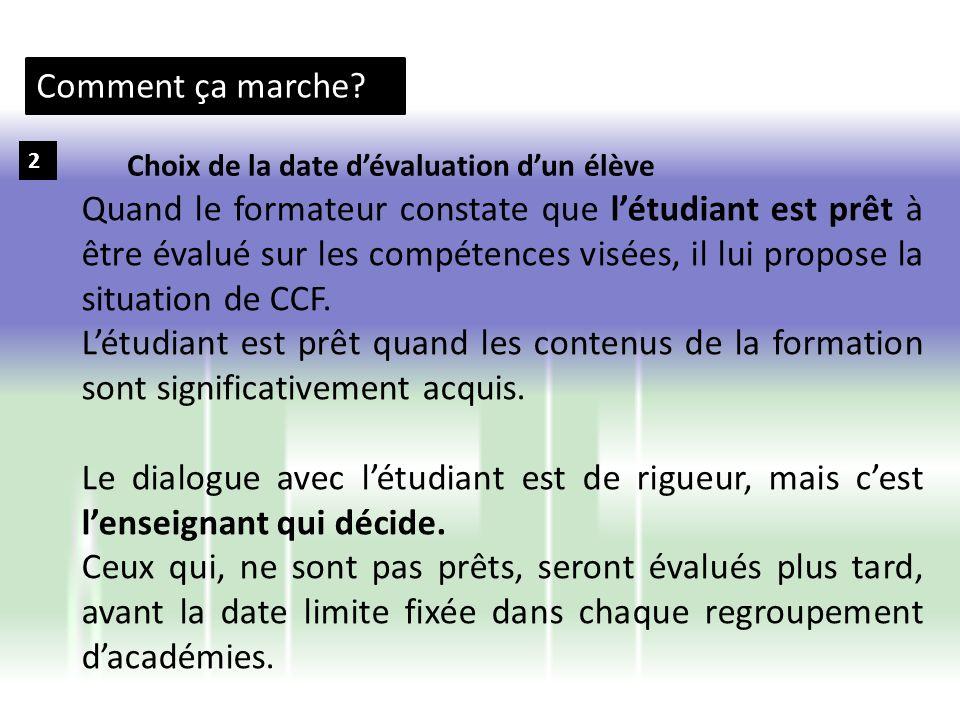 Comment ça marche 2. Choix de la date d'évaluation d'un élève.