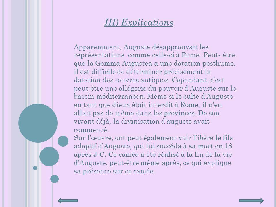 III) Explications