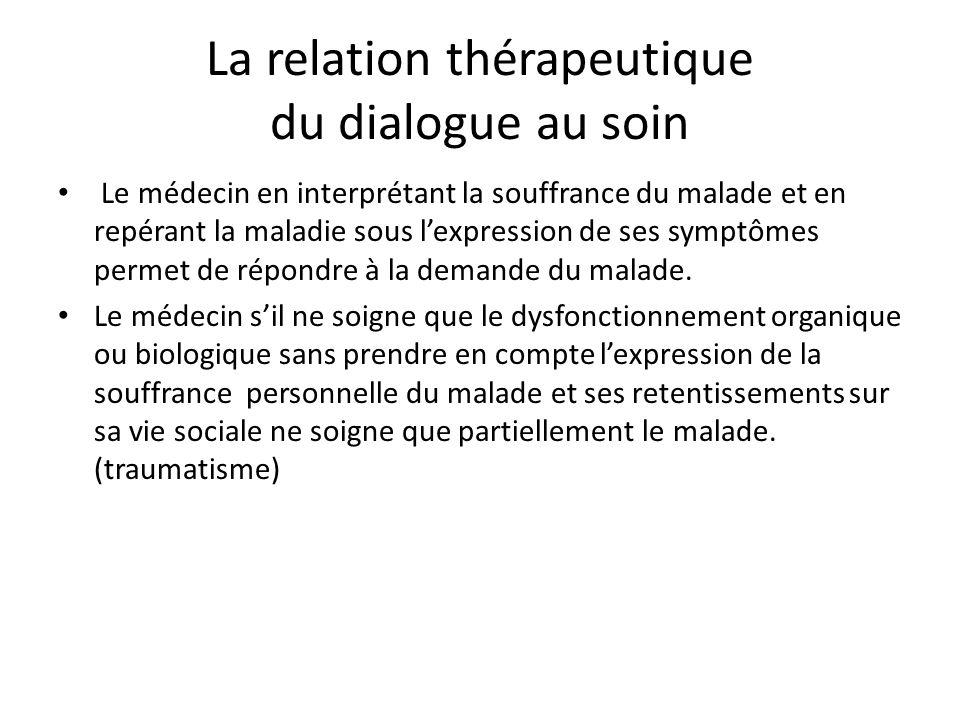 La relation thérapeutique du dialogue au soin