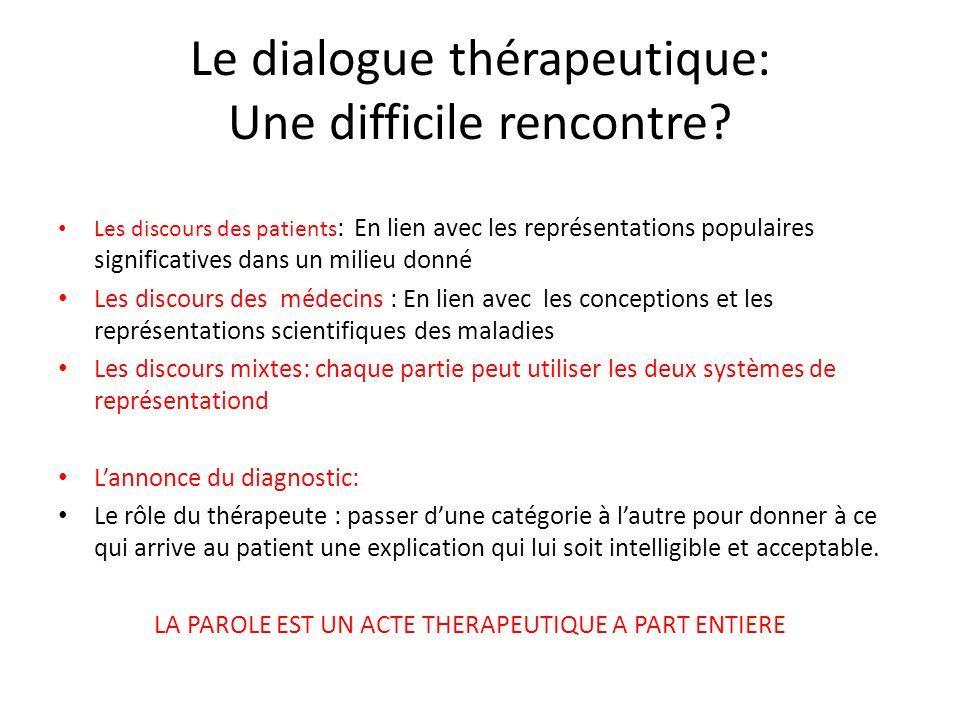Le dialogue thérapeutique: Une difficile rencontre