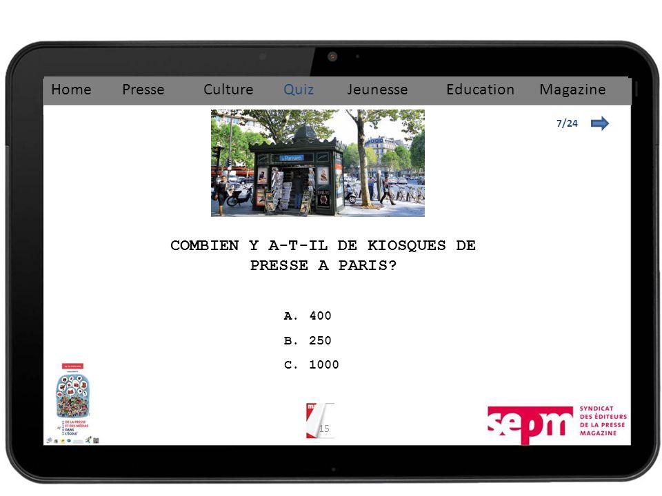 COMBIEN Y A-T-IL DE KIOSQUES DE PRESSE A PARIS