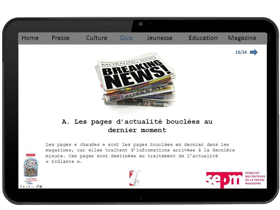 A. Les pages d'actualité bouclées au dernier moment
