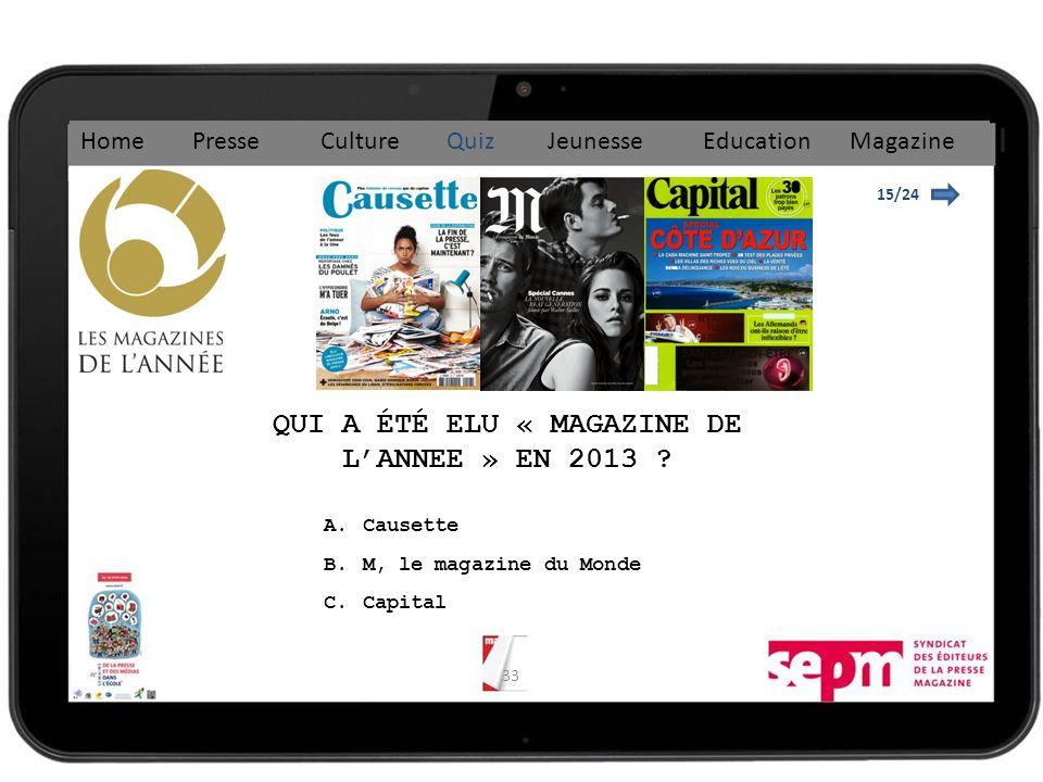 QUI A ÉTÉ ELU « MAGAZINE DE L'ANNEE » EN 2013