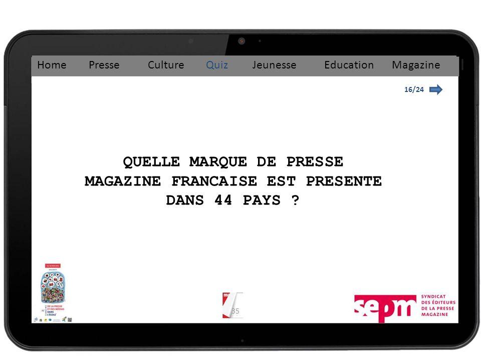 QUELLE MARQUE DE PRESSE MAGAZINE FRANCAISE EST PRESENTE DANS 44 PAYS