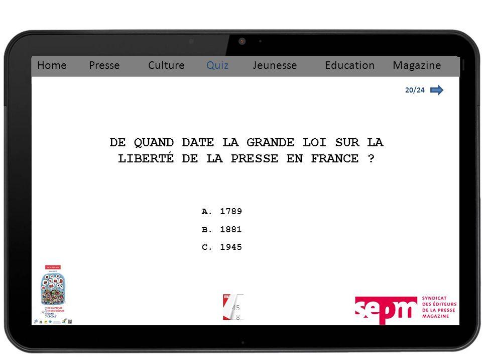 DE QUAND DATE LA GRANDE LOI SUR LA LIBERTÉ DE LA PRESSE EN FRANCE