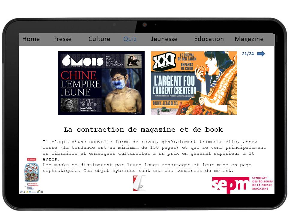 La contraction de magazine et de book