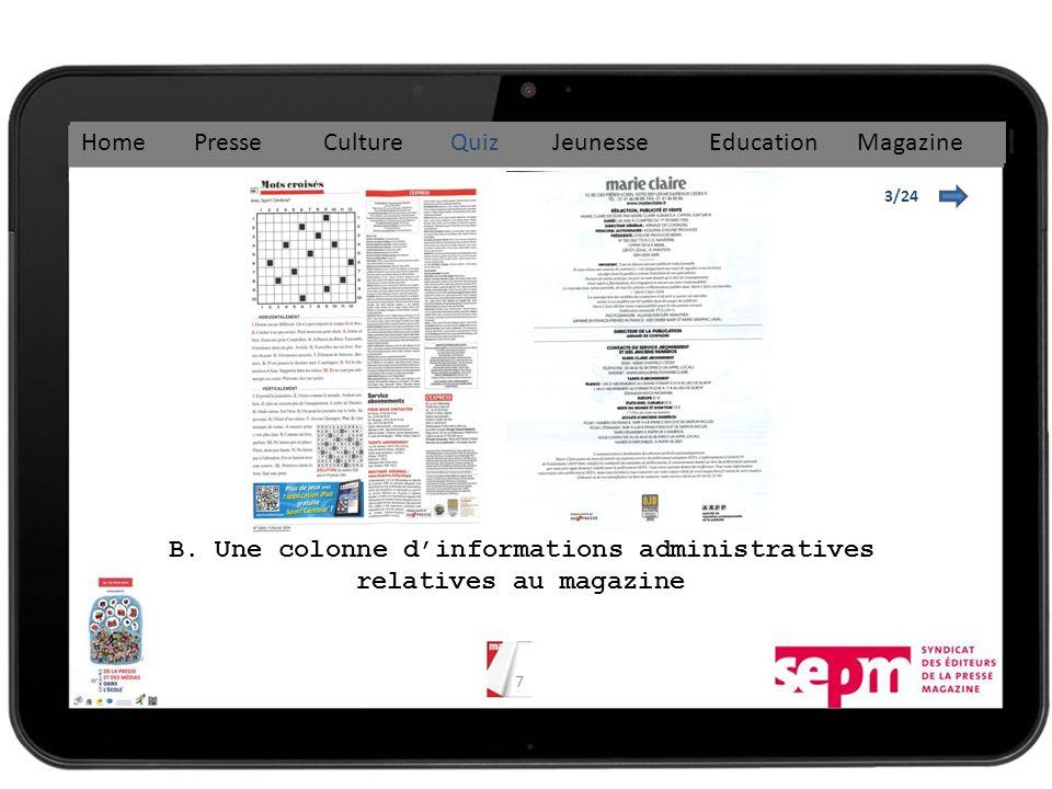 B. Une colonne d'informations administratives relatives au magazine