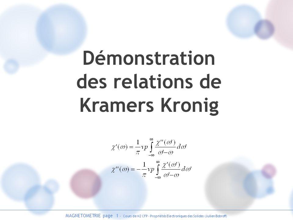 Démonstration des relations de Kramers Kronig