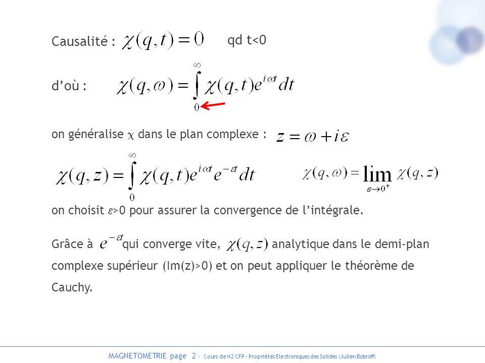 Causalité : qd t<0 d'où : on généralise c dans le plan complexe :
