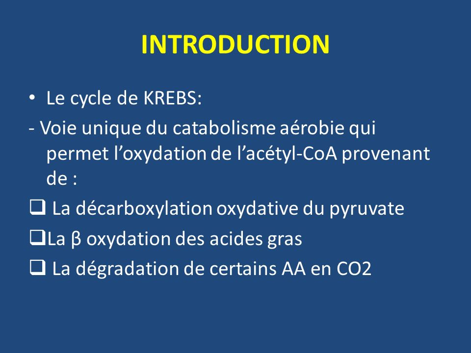 INTRODUCTION Le cycle de KREBS: