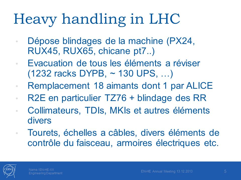 Heavy handling in LHC Dépose blindages de la machine (PX24, RUX45, RUX65, chicane pt7..)