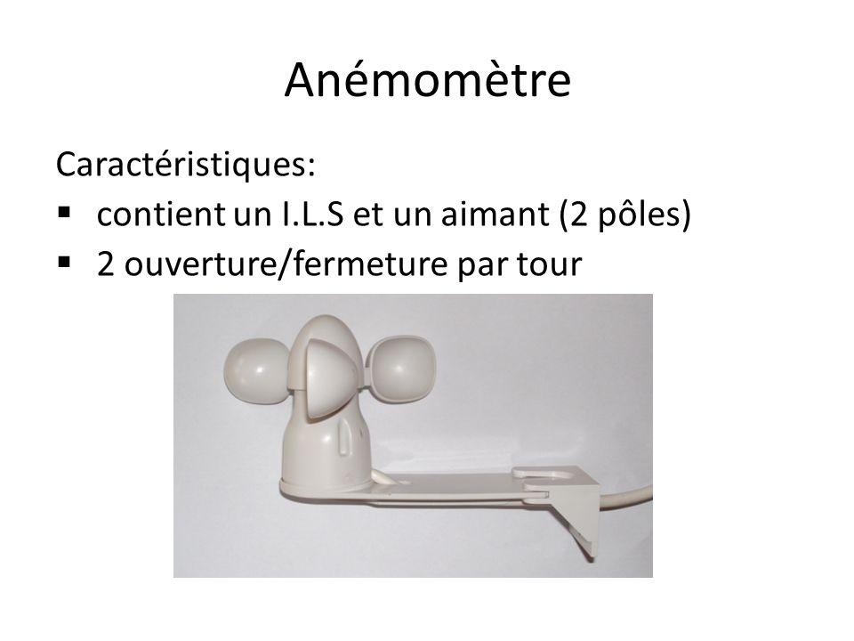 Anémomètre Caractéristiques: contient un I.L.S et un aimant (2 pôles)