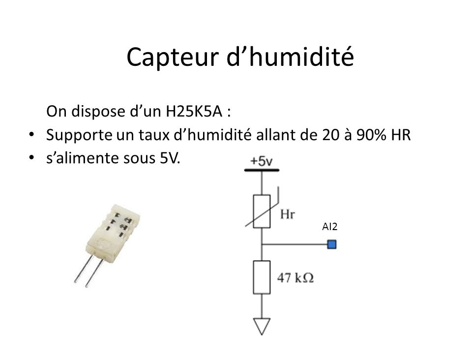Capteur d'humidité On dispose d'un H25K5A :