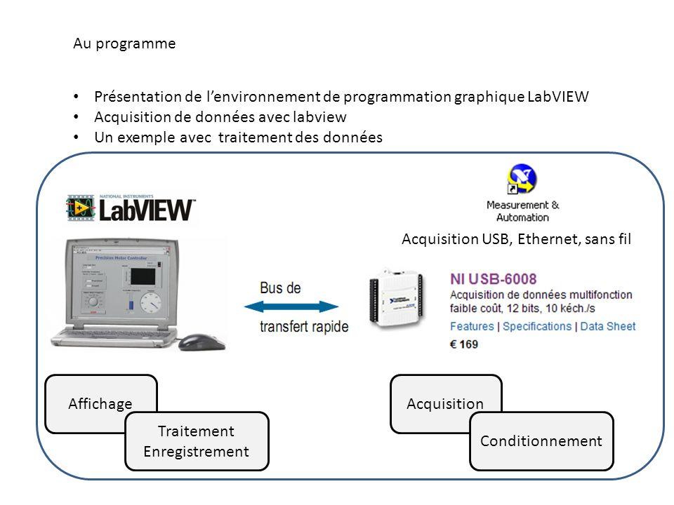 Au programme Présentation de l'environnement de programmation graphique LabVIEW. Acquisition de données avec labview.