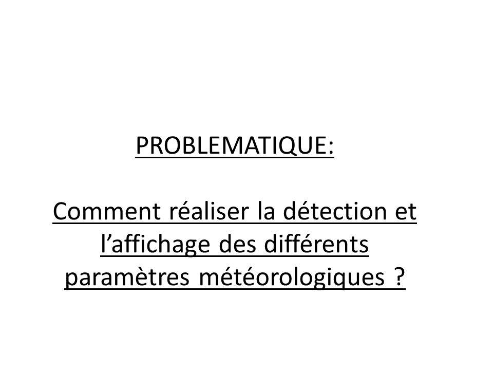 PROBLEMATIQUE: Comment réaliser la détection et l'affichage des différents paramètres météorologiques