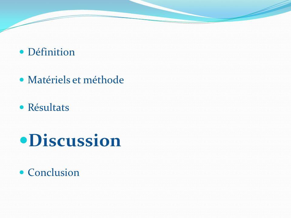 Définition Matériels et méthode Résultats Discussion Conclusion