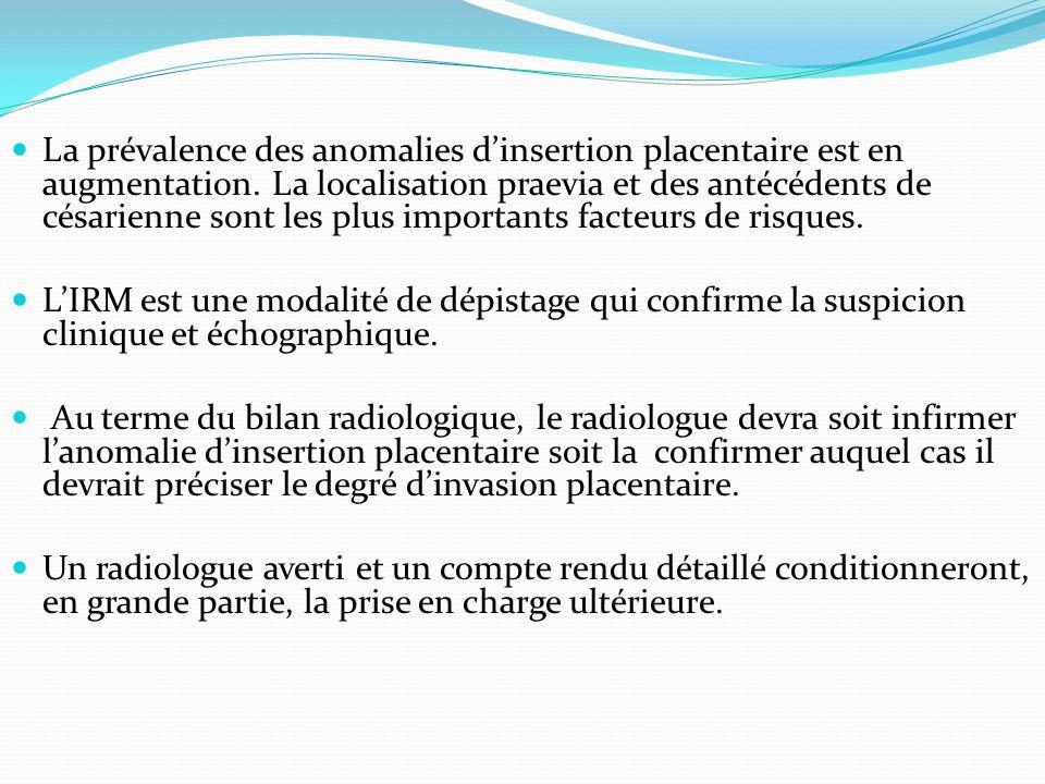 La prévalence des anomalies d'insertion placentaire est en augmentation. La localisation praevia et des antécédents de césarienne sont les plus importants facteurs de risques.