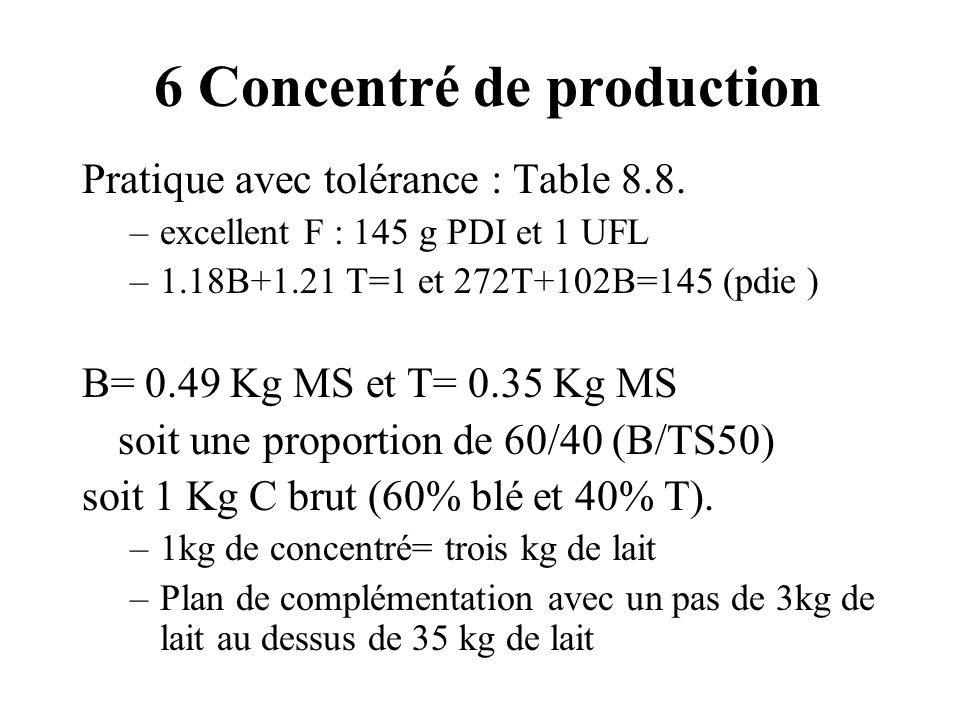 6 Concentré de production
