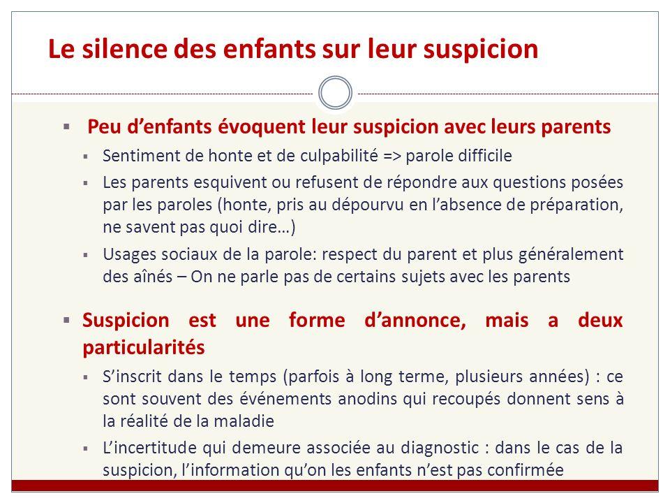 Le silence des enfants sur leur suspicion