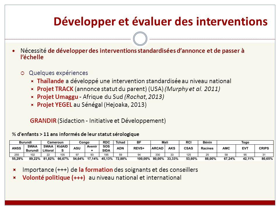 Développer et évaluer des interventions