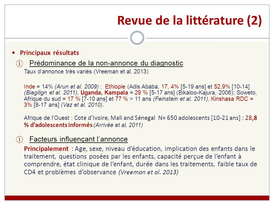 Revue de la littérature (2)