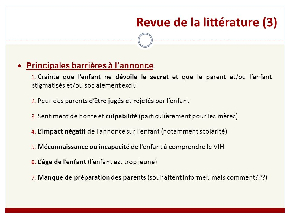 Revue de la littérature (3)