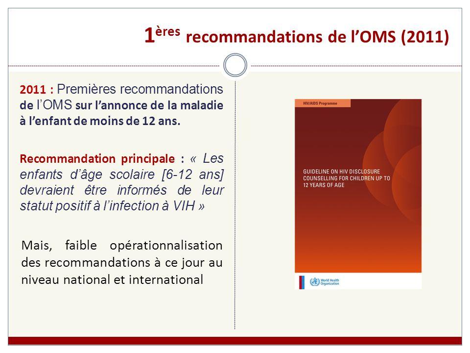 1ères recommandations de l'OMS (2011)