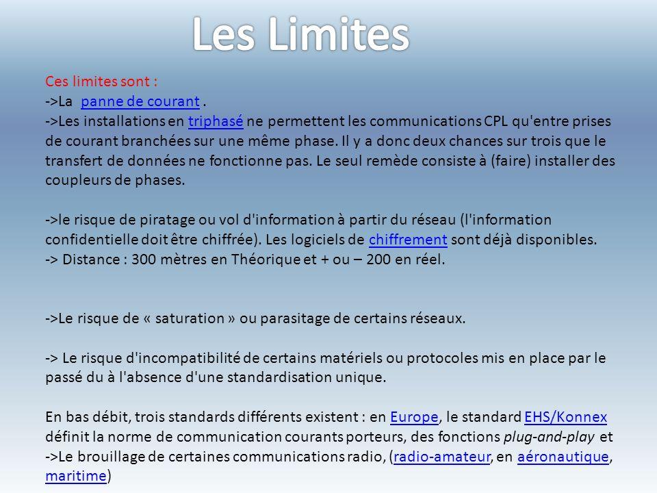 Les Limites Ces limites sont : ->La panne de courant .