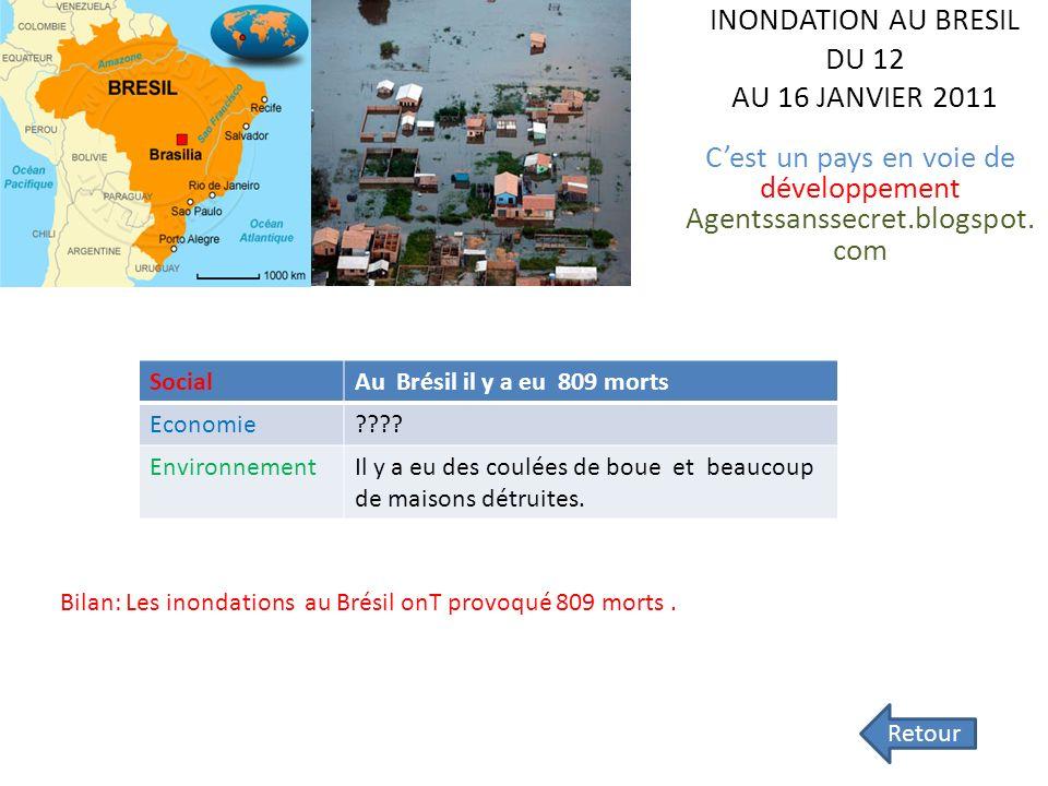 INONDATION AU BRESIL DU 12 AU 16 JANVIER 2011