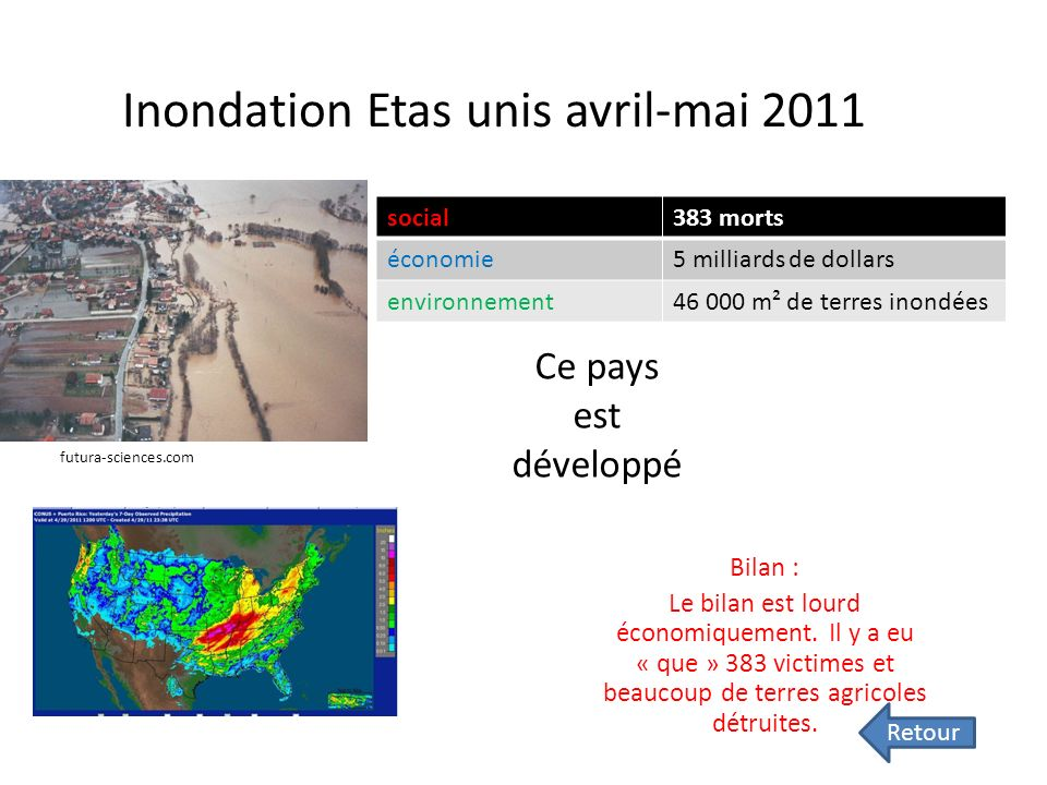 Inondation Etas unis avril-mai 2011