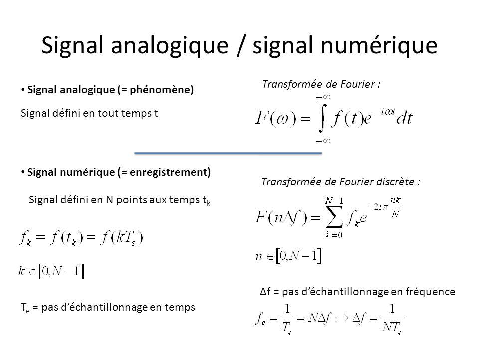 Signal analogique / signal numérique