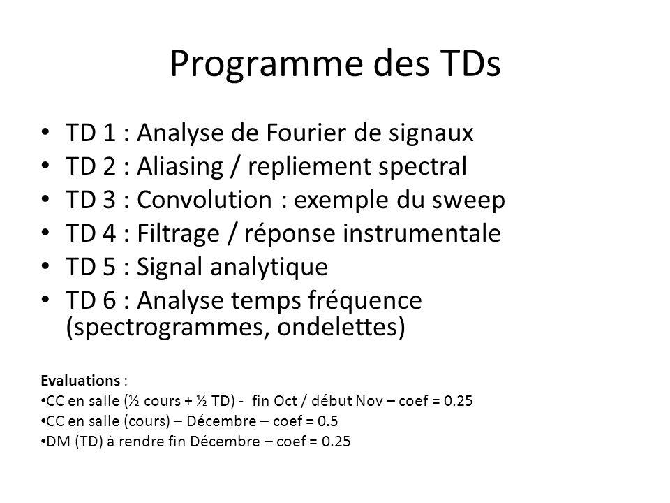 Programme des TDs TD 1 : Analyse de Fourier de signaux