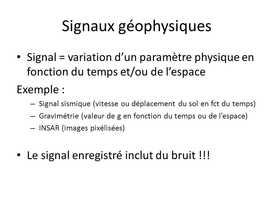 Signaux géophysiques Signal = variation d'un paramètre physique en fonction du temps et/ou de l'espace.