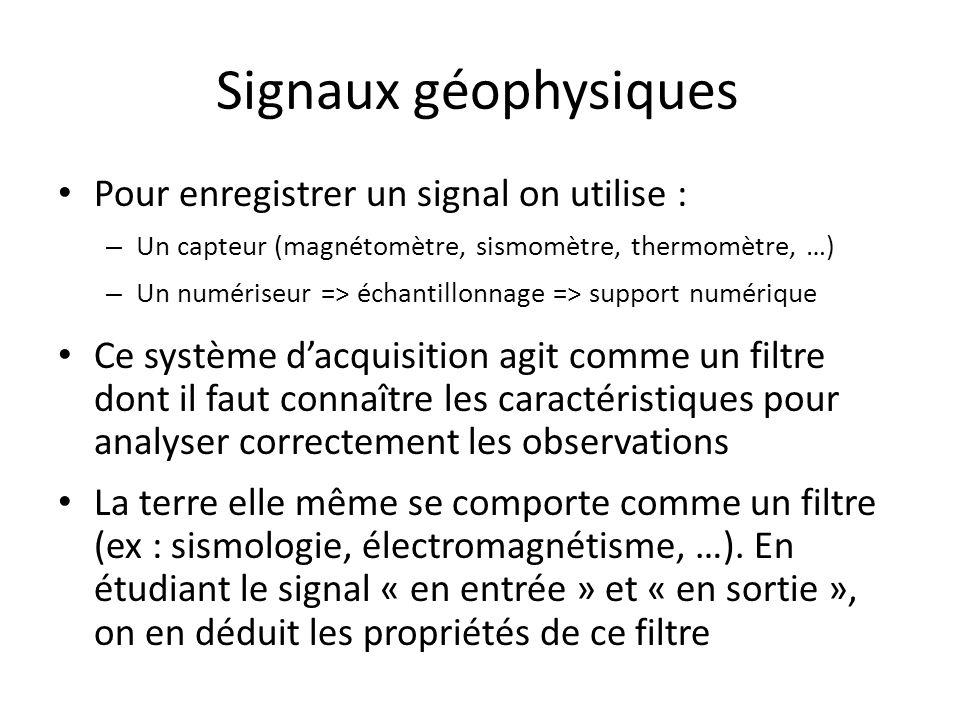 Signaux géophysiques Pour enregistrer un signal on utilise :