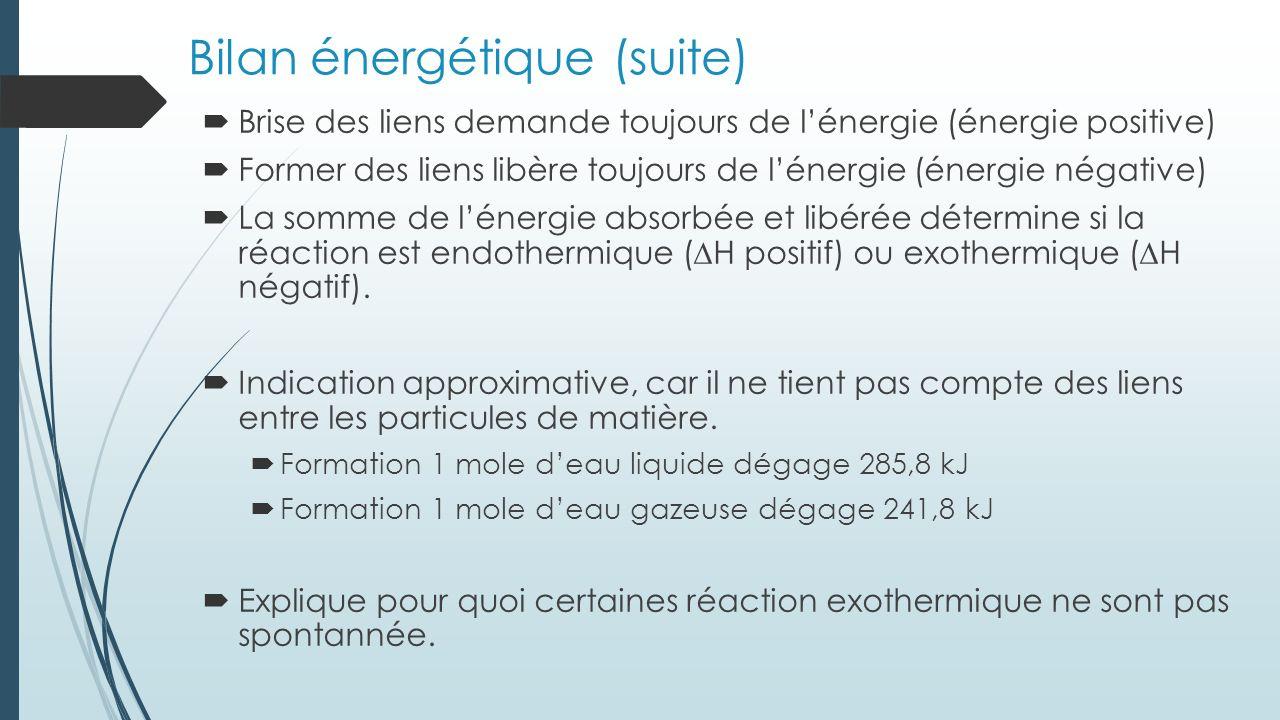 Bilan énergétique (suite)