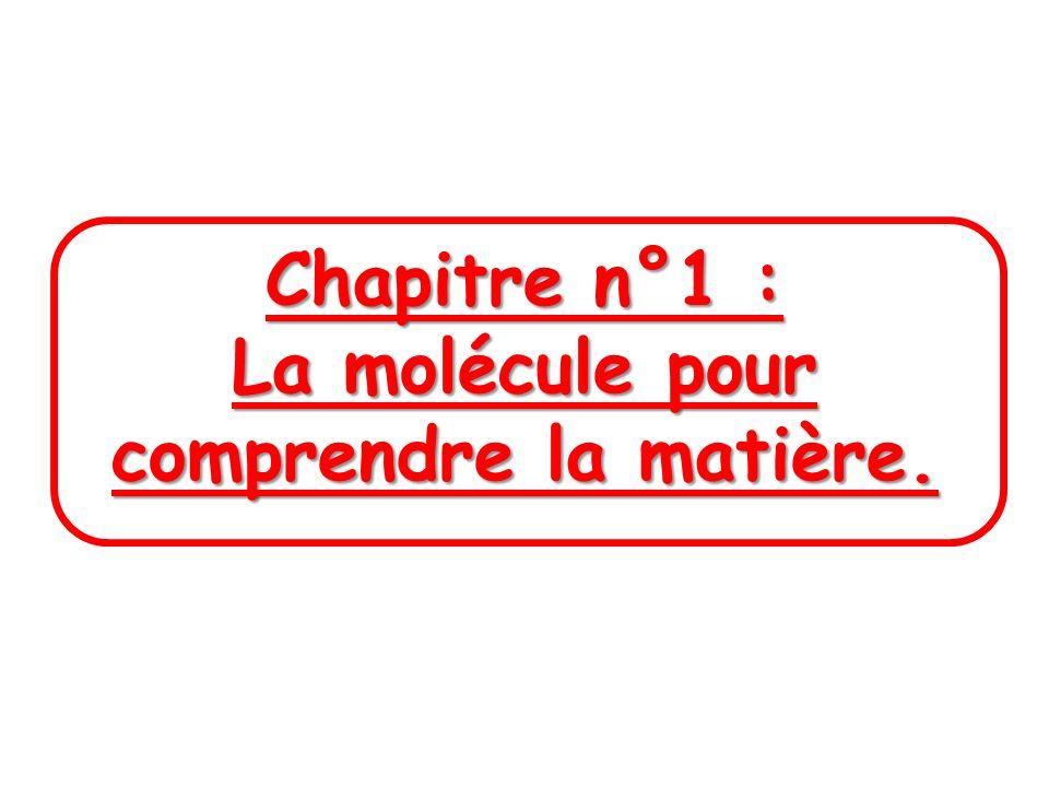 Chapitre n°1 : La molécule pour comprendre la matière.