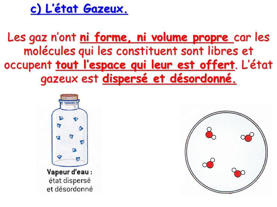 c) L'état Gazeux.